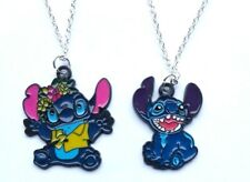 """LILO AND STITCH CHARACTER PENDANT CHARM NECKLACE 18"""" SILVER CHAIN IN GIFT BAG"""