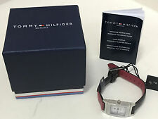NEW ARRIVAL! TOMMY HILFIGER NAVY BLUE / RED REVERSIBLE LEATHER STRAP WATCH $95
