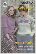 Vintage Knitting Patterns | Beehive 447 Chunky Knits for the Family | 1983