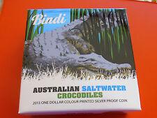 "*Australien 1 Dollar 2013 1 Oz. Silber PP Farbe *Salzwasserkrokodil ""Bindi"""