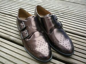 Clarks Softwear Ladies Bronze Patent Leather Brogues With Monk Straps Shoes 4 D