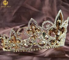 Imperial Medieval Tiara Diadem Full Round Gold Crown Crystal Pageant Costumes