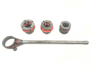 "Ridgid 12-R 12R Ratcheting Threader w/ Handle & 2"", 1 1/2"", 1 1/4"" Die Heads (1)"