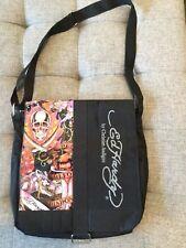 ED HARDY by Christian Audigier Black Skull Graphic Messenger BAG Shoulder  Strap 25dda139b7