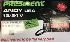 President Andy USA CB Radio Deluxe 7 Color Display 12/24V CB Radio Brand NEW