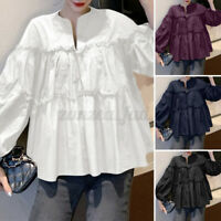 ZANZEA 8-24 Women Ruffled Tiered Peplum Blouse Tee Shirt Long Puff Sleeve Top