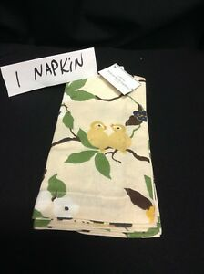 1 Pottery Barn Vintage Lemon Bird Flowers leaves Linen Napkins Kitchen