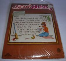 New 1979 Rock A Bye Sunset Stitchery Crewel Embroidery Kit #2653 Baby Mother