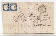 K735-IV SARDEGNA-COPPIA 20 CENT INDACO DA GENOVA A SAVONA 1857