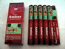 FREE SHIPPING DARSHAN INCENSE 6 HEXAGONALS BOXES 120 STICKS AMBER SCENT