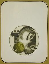 """Vintage Modern Abstract L/E Etching with Bird  """"Aius"""" by Philipon"""