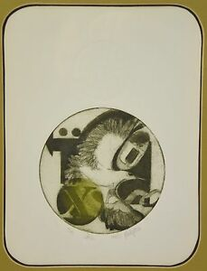 """Vintage Modern Abstract L/E Etching with Bird  """"Aius"""" Ruth Philipon SAI Chicago"""