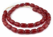 Kenya Red Oval Amber Resin Beads 25mm African Large Hole 36 Inch Strand Handmade