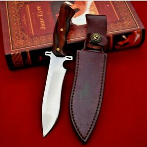 Drop Point Knife Fixed Blade Hunting Survival Wild Tactical D2 Steel Wood Handle