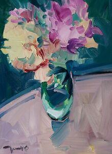 JOSE TRUJILLO Oil Painting IMPRESSIONISM STILL LIFE FLOWERS FLORAL ARTWORK NR