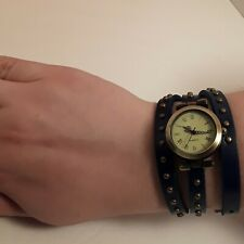 QUARTZ Watch with Dark Blue Leather Double Wrap Around Studded Band. Retro Goth