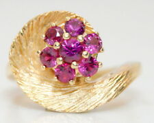GORGEOUS Women's 14K Yellow Gold 1/3 Ct Floral/Shell Shaped Ruby Ring Size 5
