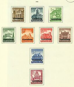 Luxembourg 1941 German Occupation issues (9v) Mounted Mint Stamps