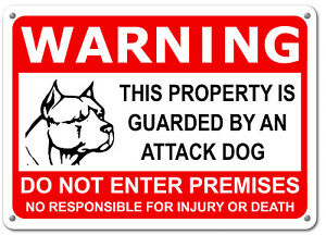 """Guard Dog on Duty HORIZONTAL Sign Beware of Dog Sign Dogs Will Bite 11""""x7"""" Sign"""