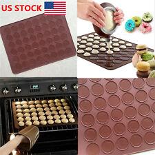 US 48 Cavities Macaron Baking Mats Non Stick Macaroon Tray Silicone Bakewares