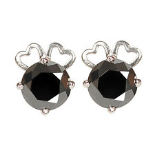 Round Cut Women's Studs In 925 Silver 100% Natural Jet Black Diamond With 4.00Ct