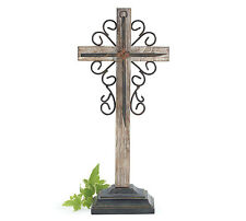 """Beautiful Wooden Cross With Accents On Stand 14"""" Tall Religious Gift Home Decor"""
