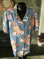 White Stag Plus Womens Hawaiian Shirt Tropical Print Post Cards Blue 18-20 W