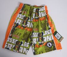 Youth Small Angry Turtle Mesh Athletic Shorts Lime Green Flow Society