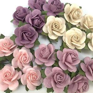 "1""/2.5cm Mulberry Open Rose Paper flower Wedding Scrapbook Craft (R6-4/Sweetฺ-C)"