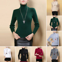 Autumn Winter Women Cotton Mix Sweater Knitted Turtleneck Pullover Warm Jumper