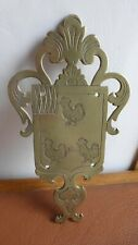 Ancien grd blason bronze.Plaque 3 coqs. XVIIIème.Antique Bronze coat of arms.