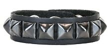 Black Single Pyramid Stud Leather Snap Bracelet Punk Gothic Glam Rockabilly 70's