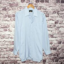 Alfred Dunhill Men's Button Front Dress Shirt Blue Striped Order Made fits 16 L