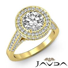 Brilliant Cut Round Diamond Engagement Halo Ring GIA H VS1 18k Yellow Gold 2.8ct