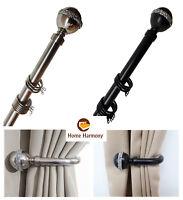 Bling Ball 25-28 mm Telescopic Extendable Curtain Pole Set Holdbacks Available