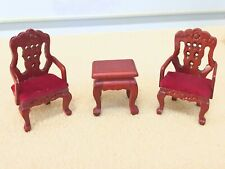"""Dollhouse Miniature Wooden Victorian Living Room Set 1/2 """" Scale"""