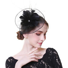 Ladies Wedding Party Headpiece Fascinator Flower Hair Clip Feather Headband