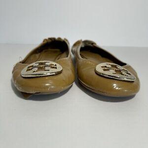 Tory Burch Ballet Flat Reva Tan Leather Gold Shoes Flats camel Ballet Sz 6