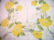 Vintage Yellow & White BLOOMS Printed Tablecloth POPPIES DAISIES Fallani & Cohn