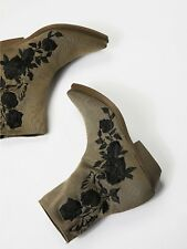 $415 Free People Vic Matie Military Stretch Green Black Roses Ankle Boot Sz 37 7