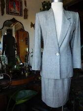 VTG KASPER For A.S.L.Petite Gray Plaid 2-Pc Blazer Jacket Skirt Suit Size 4P