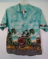 KY'S Mens Motorcycle Design Button Front Short Sleeve Shirt Size XL