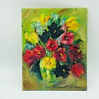 Flowers in Vase Still Life Oil Painting Reds Greens Yellows Cottage Core Signed