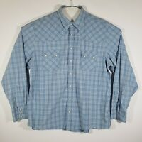 Old Navy Mens Pearl Snap Shirt XXL Blue Plaid Western Long Sleeve 100% Cotton