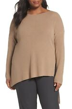 NEW Eileen Fisher Asymmetrical Merino Wool Pullover, Camel Size 2X Plus $298 NWT