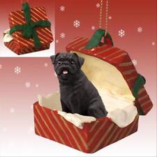 Pug, Black Dog RED Gift Box Holiday Christmas ORNAMENT