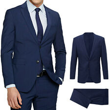 Abito Uomo blu Navy Elegante Slim Fit Vestiro cerimonia Sartoriale Casual Moda