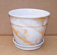 "7 1/2"" WIDE CERAMIC MARBLE GLAZED MULTI COLORED PATTERN PLANTER WITH SAUCER"