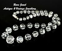 VINTAGE ROCK CRYSTAL BEAD NECKLACE GENUINE QUARTZ CUT GEMSTONE