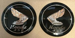 New 1965-1968 Honda CB450 KO Black Bomber Gas Tank Badge Emblems as NOS...